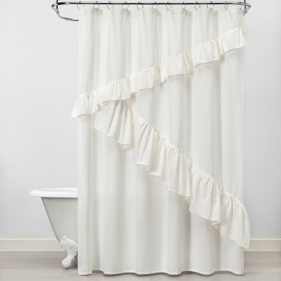 Asymmetrical Ruffle Feather Shower Curtain Off-White - Opalhouse™
