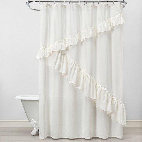 Asymmetrical Ruffle Shower Curtain White Feather - Opalhouse™ - image 1 of 3