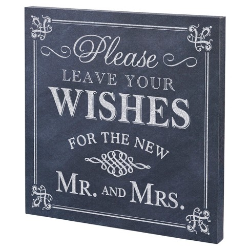 "Black, White ""Leave Your Wishes"" Canvas Wedding Sign - image 1 of 2"