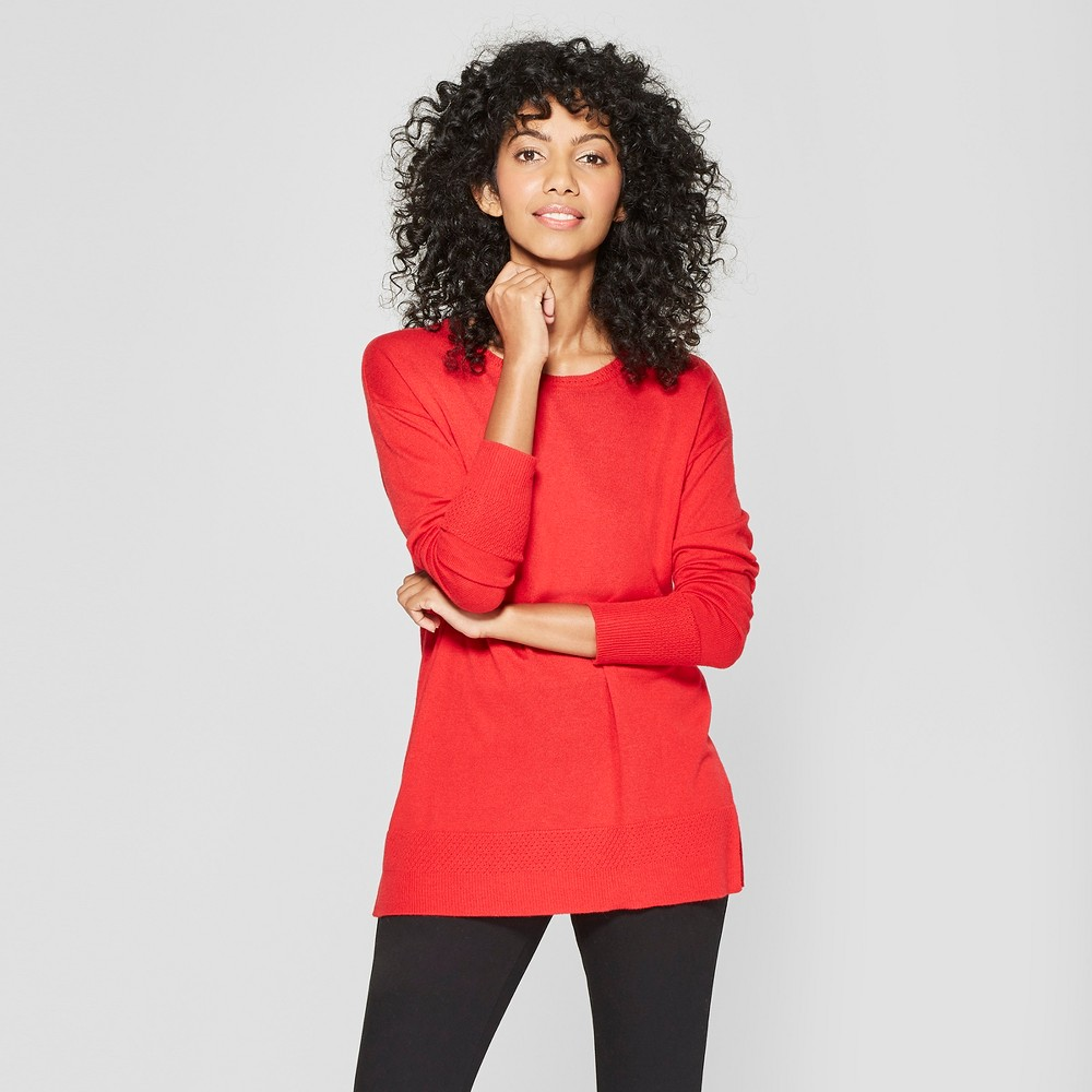 Women's Crew Neck Luxe Pullover Sweater - A New Day Red L
