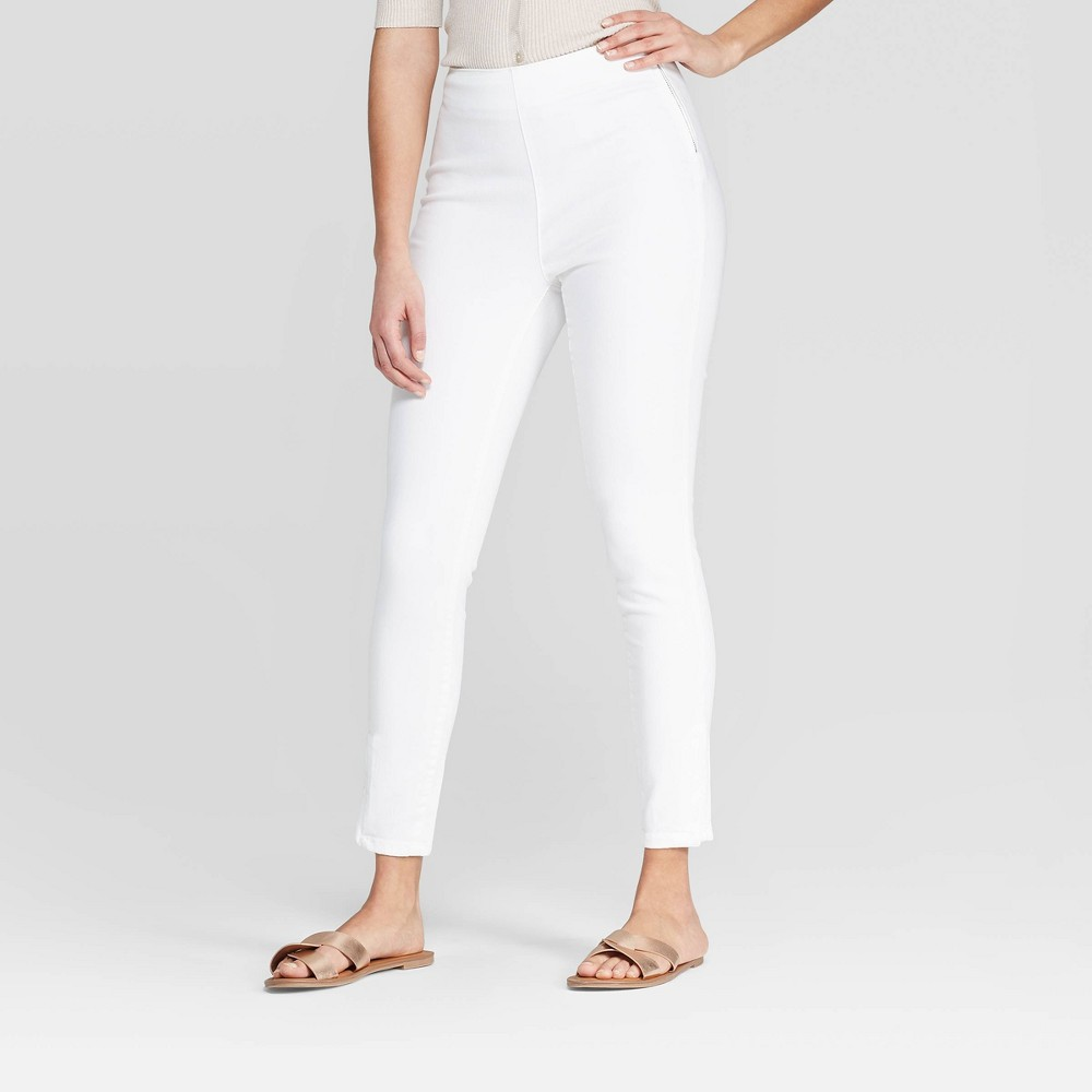 Women's Regular Fit High-Rise Skinny Ankle Pants - A New Day White 12