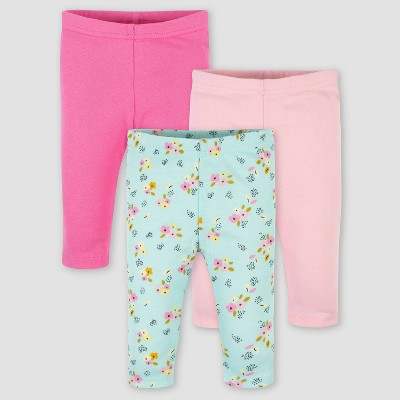 Gerber Baby Girls' 3pk Fox Pull-On Pants - Pink 3-6M