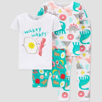 Baby Girls' 4pc 100% Cotton 'Food Dino' Pajama Set - Just One You® made by carter's White 9M