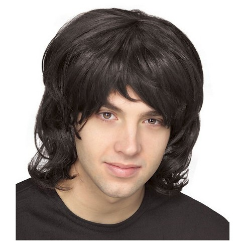 Halloween Men's 70's Shag Costume Wig Black - One Size Fits Most - image 1 of 1