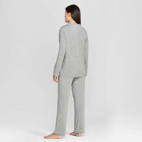 Women s Total Comfort Notch Collar Pajama Set - Gilligan   O Malley™ Gray  XL   Target e40d34044