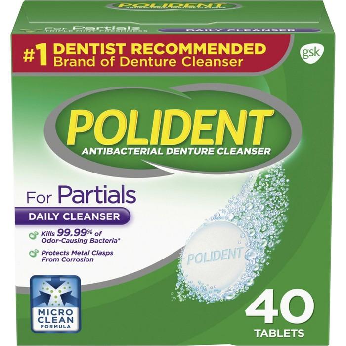 Polident Antibacterial Unflavoured Denture Cleaner - 40ct : Target
