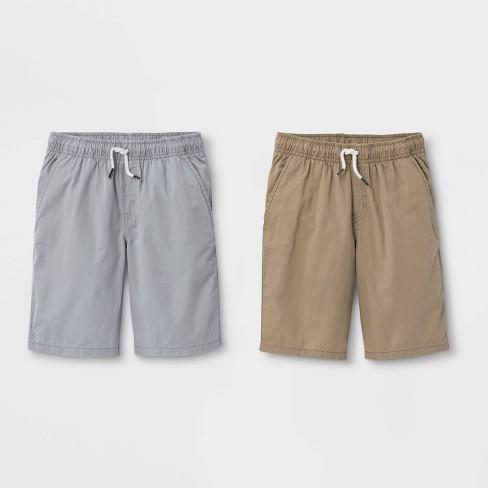 Boys' 2pk Pull-On Woven Shorts - Cat & Jack™ Light Khaki/Gray - image 1 of 2