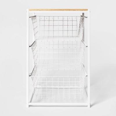 3 Drawer Organizer White Metal with Natural Wood - Threshold™