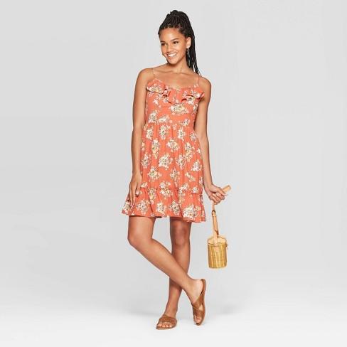 Women's Floral Print Sleeveless Deep V-Neck Ruffle Front Mini Dress - Xhilaration™ Rust - image 1 of 2