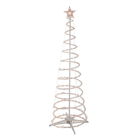 Clear Lighted Spiral Cone Tree Outdoor