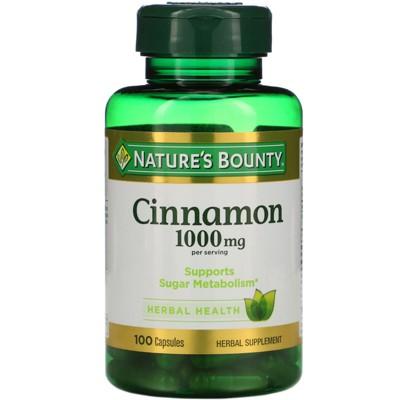 Nature's Bounty Cinnamon, 1,000 mg, 100 Capsules, Herbal Supplements