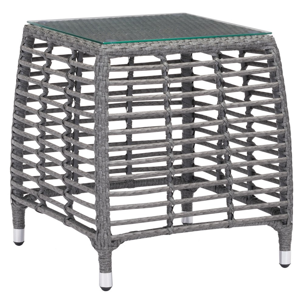 "Image of ""20"""" Modern Open Weave Side Table Gray/Beige - ZM Home, Beige Gray"""