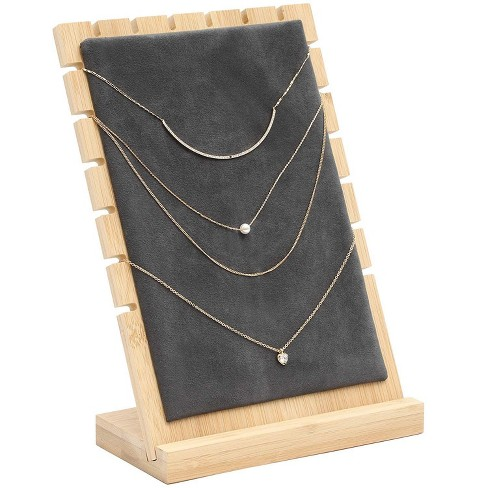 Juvale Bamboo Jewelry Display Stand Necklace Showcase for Chockers, Pearls, Trade Shows and Storefront Display - image 1 of 4