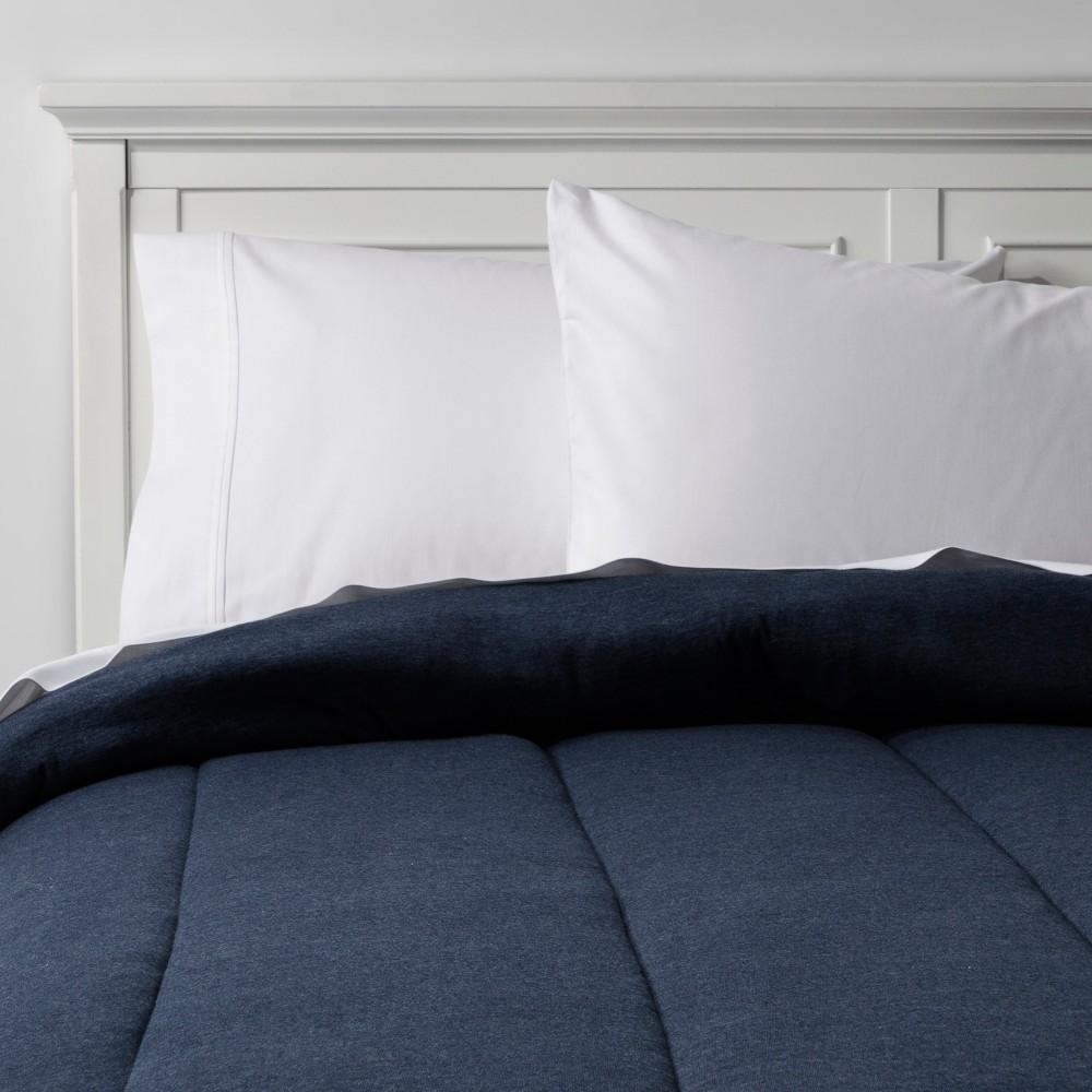 Heather Navy Solid Jersey Comforter (Full/Queen) - Room Essentials