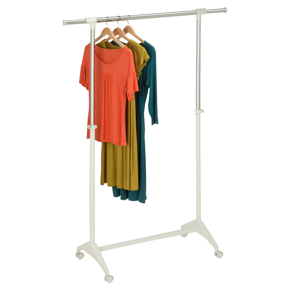 Honey-Can-Do Adjustable Height Garment Rack - White Keep your wardrobe neat and organized with this Adjustable Height Garment Rack from Honey-Can-Do. Crafted with a sleek and sturdy white metal frame, this adjustable garment rack adds style to your space while keeping clothes easy to find and truly organized. The adjustable frame accommodates garments of all lengths with ease. The extendable arms on either end provide even more storage space, while smooth casters at the bottom make for easy wheeling around. This rolling garment rack doubles as a drying rack in wet, rainy weather.