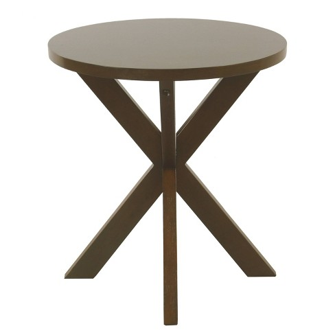 Round Wood Accent Table Dark Walnut Brown - HomePop - image 1 of 4