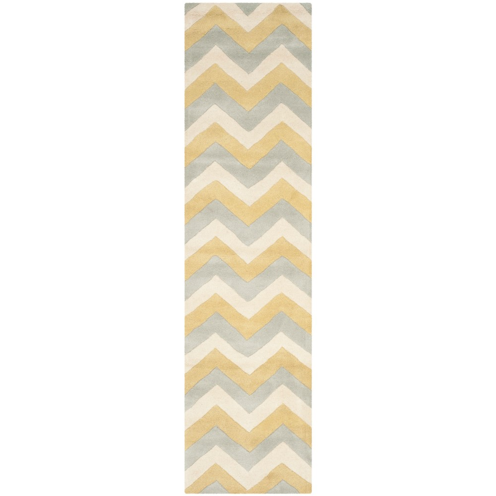 2'3X9' Tufted Chevron Runner Rug Gray - Safavieh, Grey/Gold