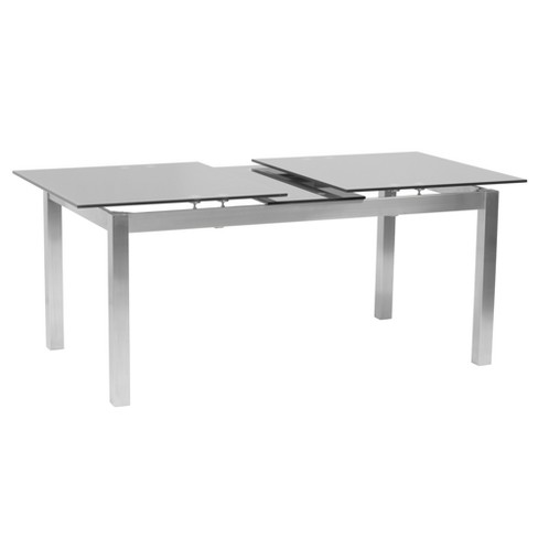 Ivan Extension Dining Table In Brushed Stainless Steel And Gray Tempered Glass Top