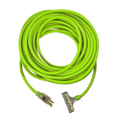 USW 12/3 100ft Cold Weather Triple Tap Extension Cord with 2 Lighted Plugs