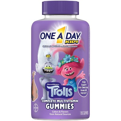 One A Day Kids Trolls Complete Multivitamin Gummies - Fruit Flavors - 180ct