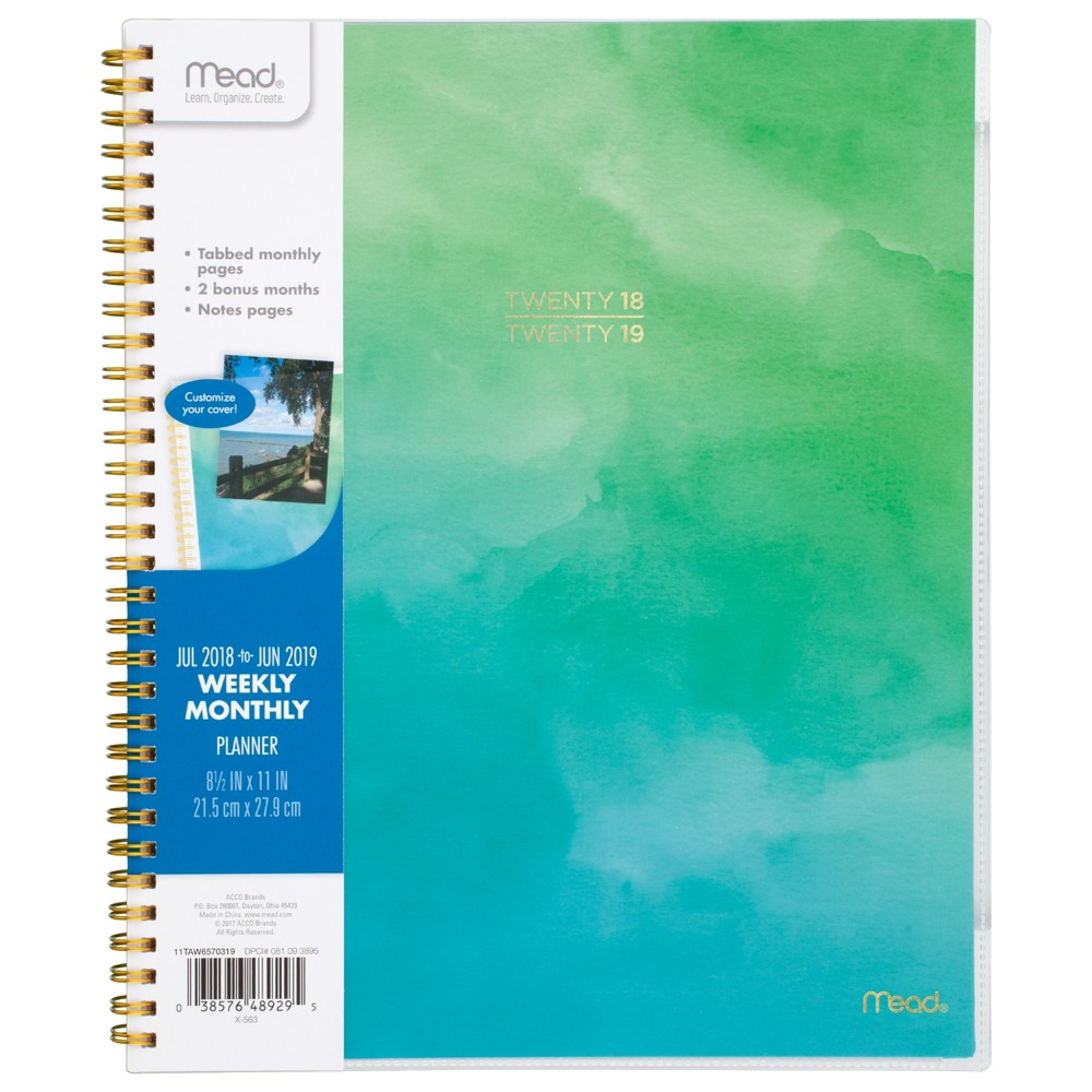 2018 - 2019 Spiral Planners Mead - Green