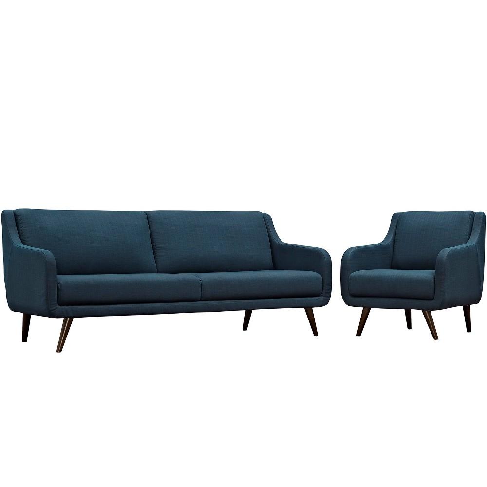 Verve Living Room Set Set of 2 Azure (Blue) - Modway