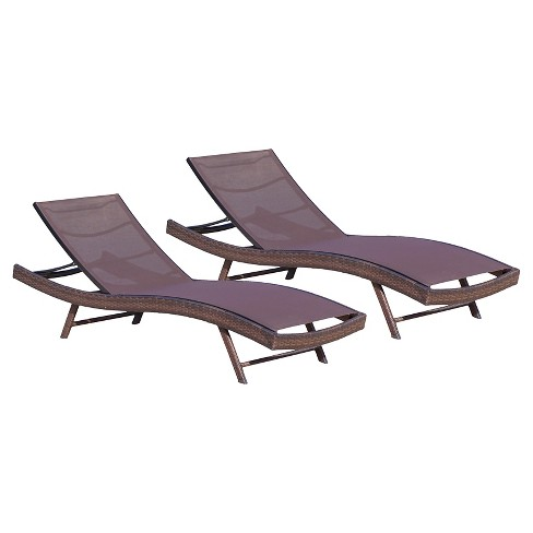 Kauai Set of 2 All-Weather Synthetic Mesh Chaise Lounge - Brown - Christopher Knight Home - image 1 of 4