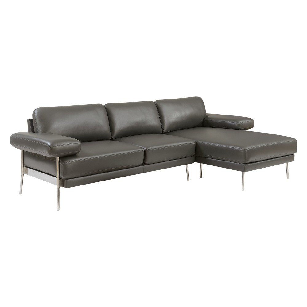 Iohomes Errico Contemporary Leatherette Sectional Gray - Homes: Inside + Out