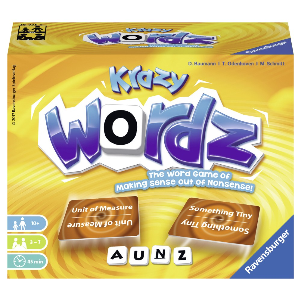 Krazy Wordz Card Game by Ravensburger Garbuna? What is that!? An  Australian marsupial ? A  brand of chocolate bar ? Or perhaps  somebody remarkably smart ? This crazy word fits only one of the task cards on the table. It may sound or look like it fits multiple cards, but it's up to you to guess the correct one! In this outrageous game of weird words, you'll want to put your creativity and quick-wittedness into high gear to win! Contents 220 cards, 7 word boards, 64 letters, 48 scoring chips, instructions Gender: Unisex.