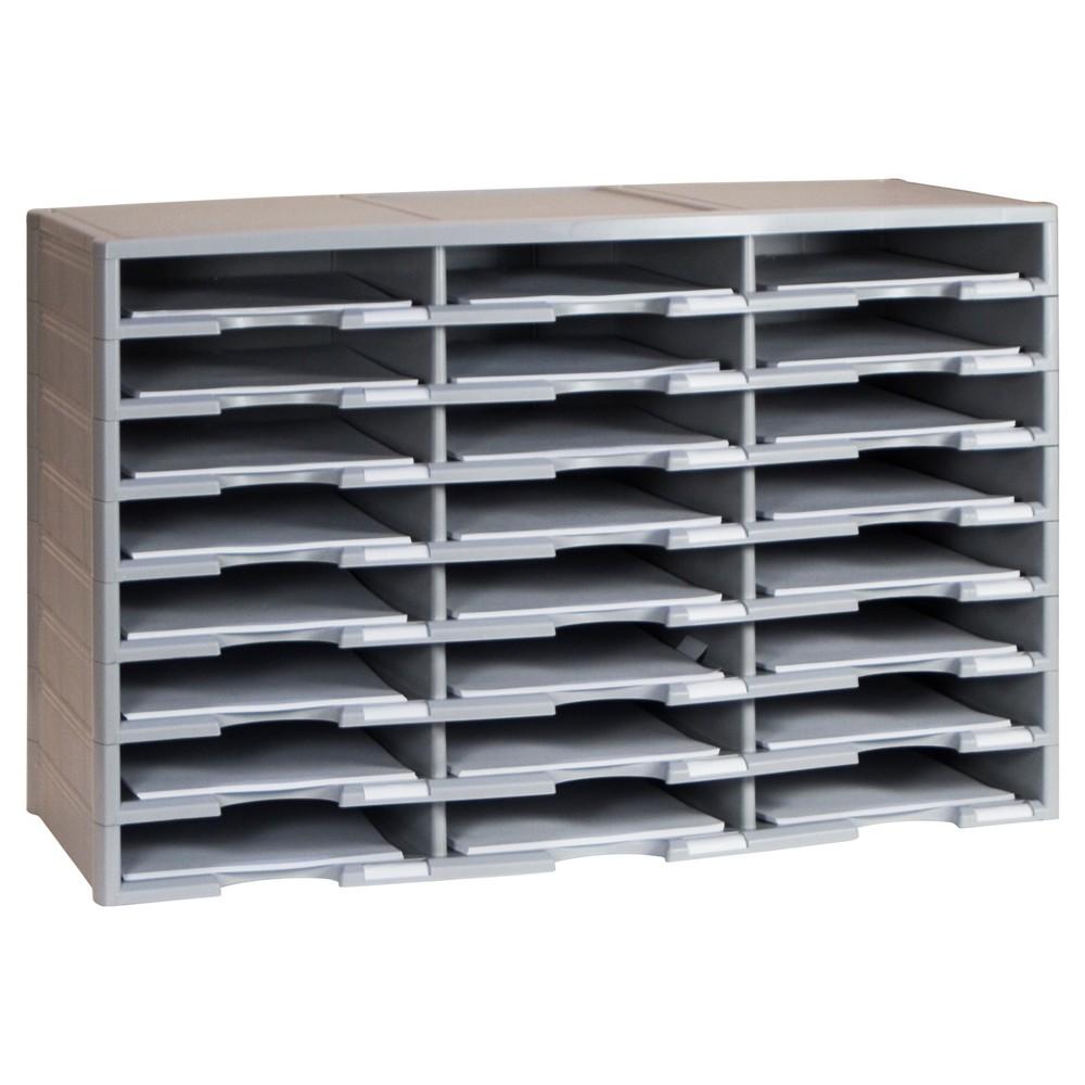 Storex Literature Organizer 24 Compartments - Gray