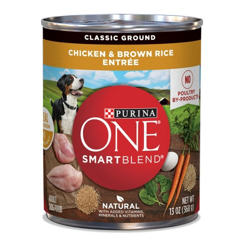 Purina ONE Natural Pate Wet Dog Food, SmartBlend Chicken & Brown Rice Entree - 13oz Can - image 1 of 4