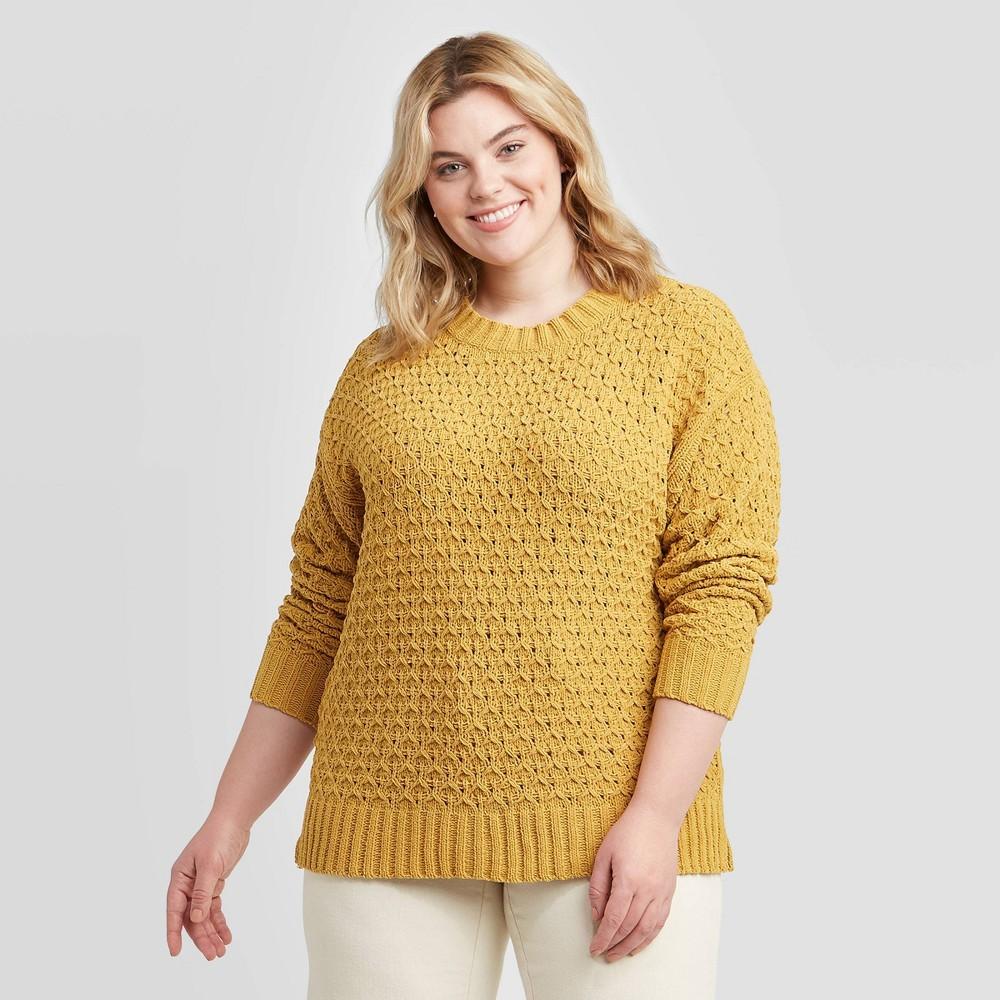Women's Plus Size Crewneck Matte Chenille Pullover Sweater - Ava & Viv Gold 2X, Women's, Size: 2XL was $27.99 now $19.59 (30.0% off)