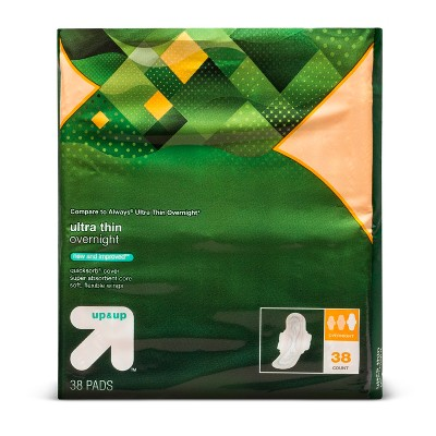 Ultra Thin Regular Overnight Pads with Wings - 38ct - Up&Up™ (Compare to Always Ultra Thin Overnight)
