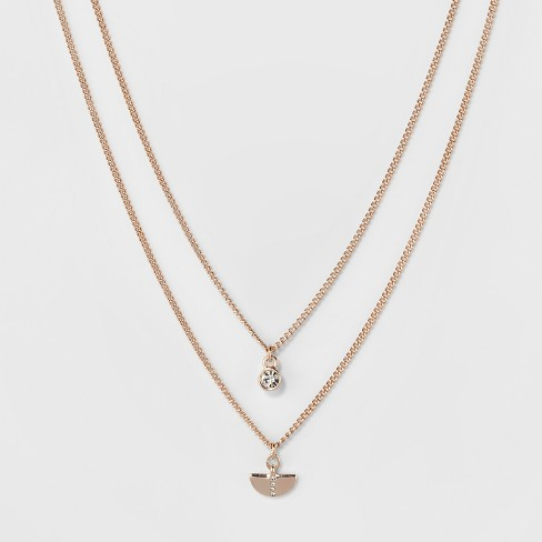 Half Circle with Stone Two Row Short Necklace - A New Day™ Rose Gold - image 1 of 3