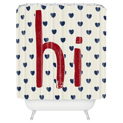 Hi Hearts Americana Shower Curtain Red
