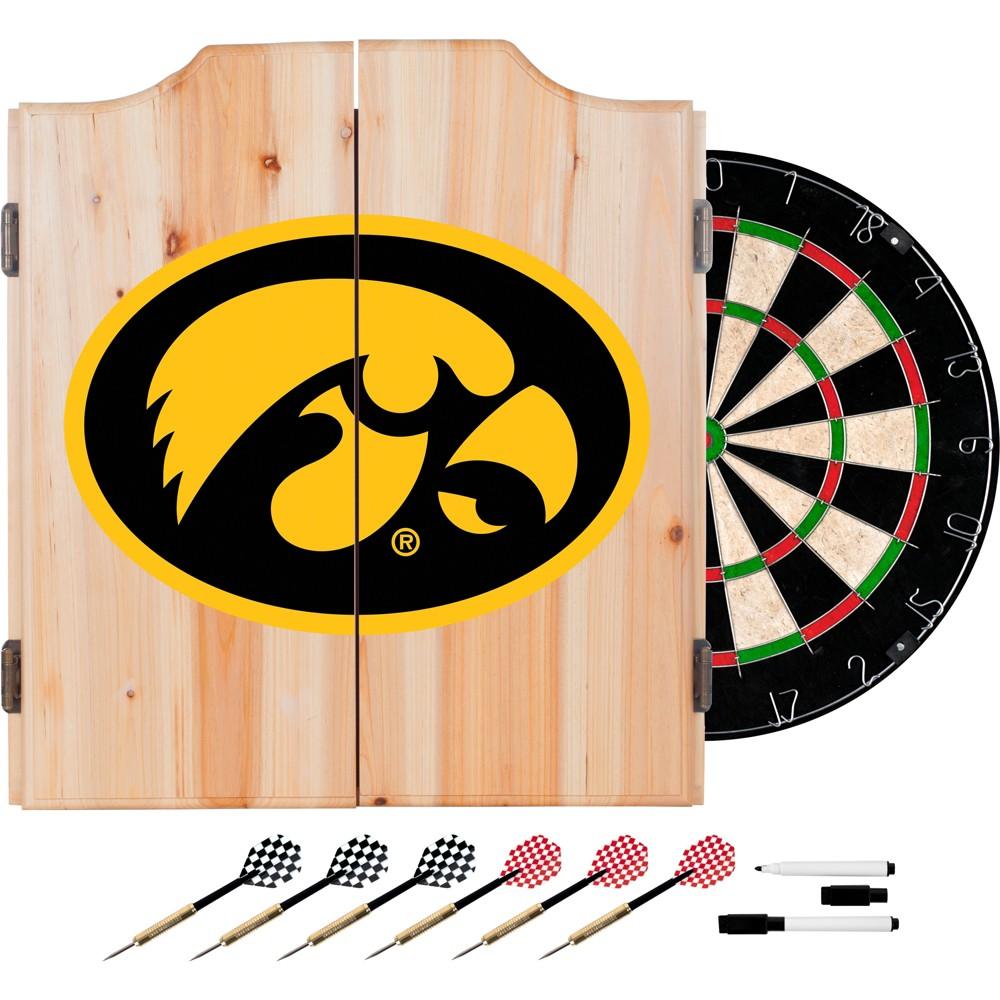 Iowa Hawkeyes Wood Dart Cabinet Set