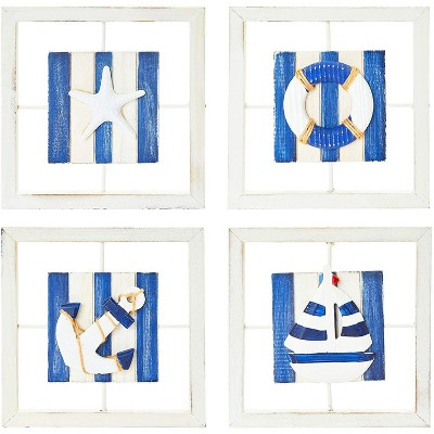 Juvale 4 Pack Beach Wall Decor, Framed Boat, Starfish, Life Ring, Anchor (9.8 x 9.8 in)
