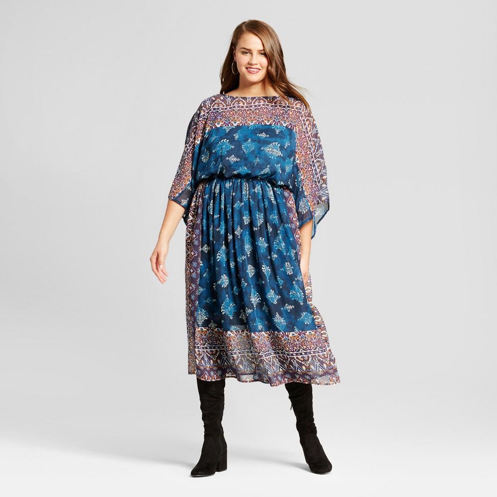 Women's Plus Size Woven Short Sleeve Dress - Xhilaration Teal (Blue) Print 2X