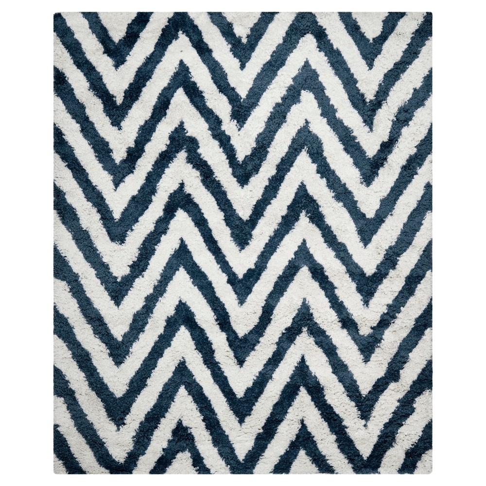 Nori Chevron Shag Rug - Ivory/Blue (8'9x12') - Safavieh