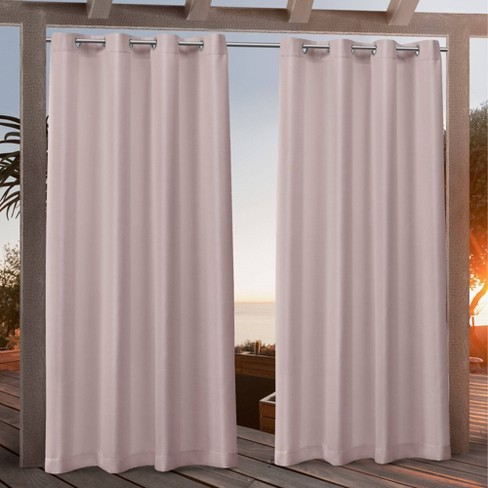 Canvas Grommet Top Light Filtering Window Curtain Panels - Exclusive Home - image 1 of 4