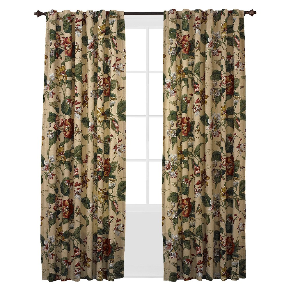 Waverly Springs Curtain Panel Pair - Parchment (52''X84''), Multi-Colored