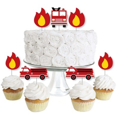 Big Dot of Happiness Fired Up Fire Truck - Dessert Cupcake Toppers - Firefighter Firetruck Baby Shower or Birthday Party Clear Treat Picks - Set of 24