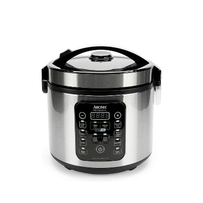 Aroma Housewares Stainless Steel Multi Use 20 Cup Smart Carb Rice Cooker with 8 Presets, Cool Touch Function, and Accessories Included