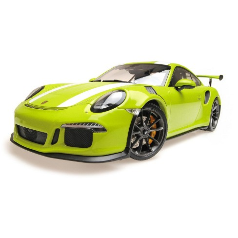 2015 Porsche 911 GT3 RS Light Green with White Stripes Limited Edition to  222 pcs 1/18 Diecast Model Car by Minichamps