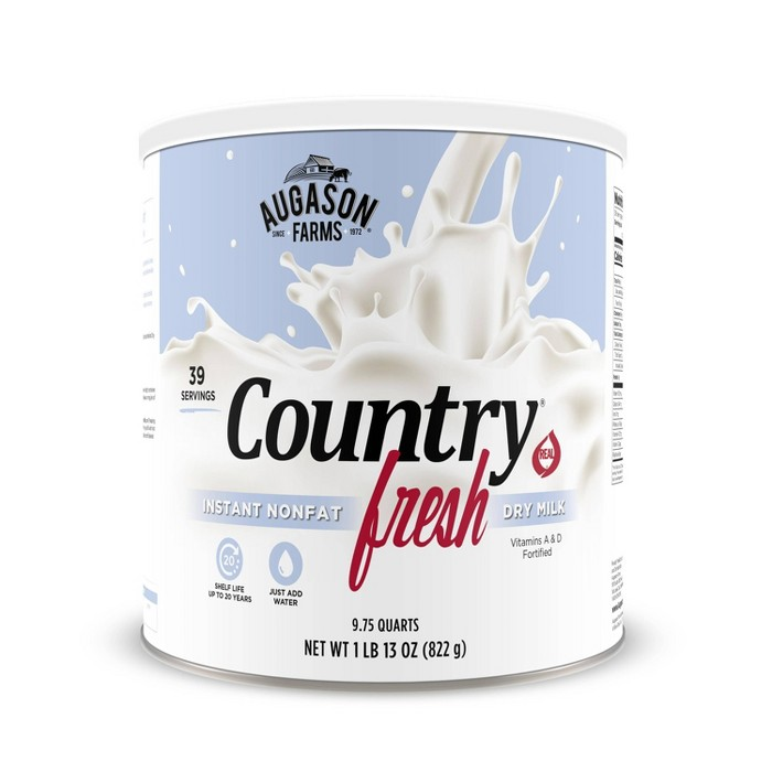 Augason Farms Gluten Free Country Fresh 100% Real Instant Nonfat Dry Milk - 29oz - image 1 of 7