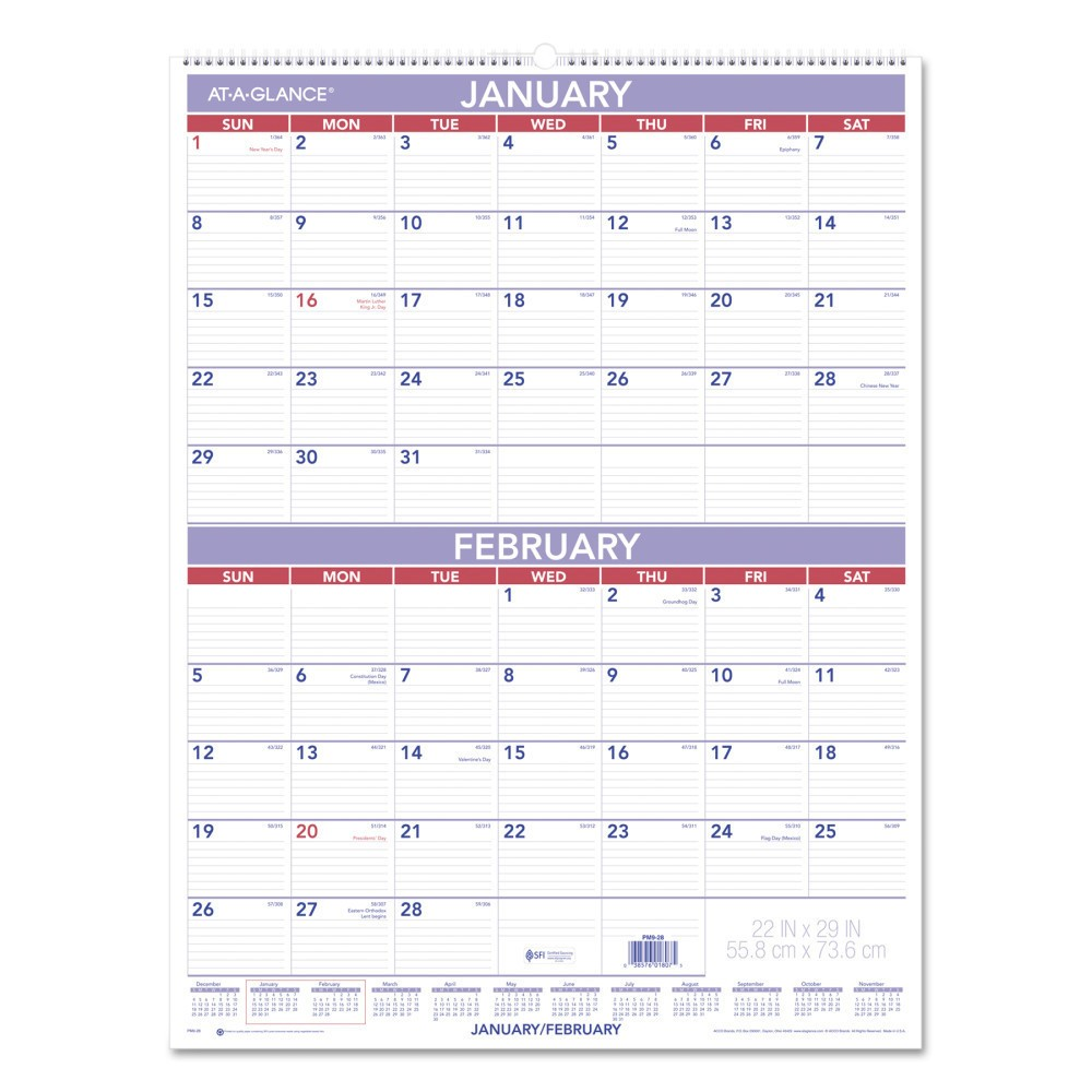 2018 Two-Month Wall Calendar 22 x 29 - AT-A-Glance, White