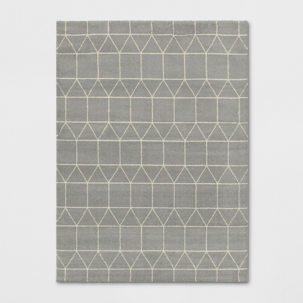 5'X7' Woven Geometric Area Rug Light Gray - Project 62