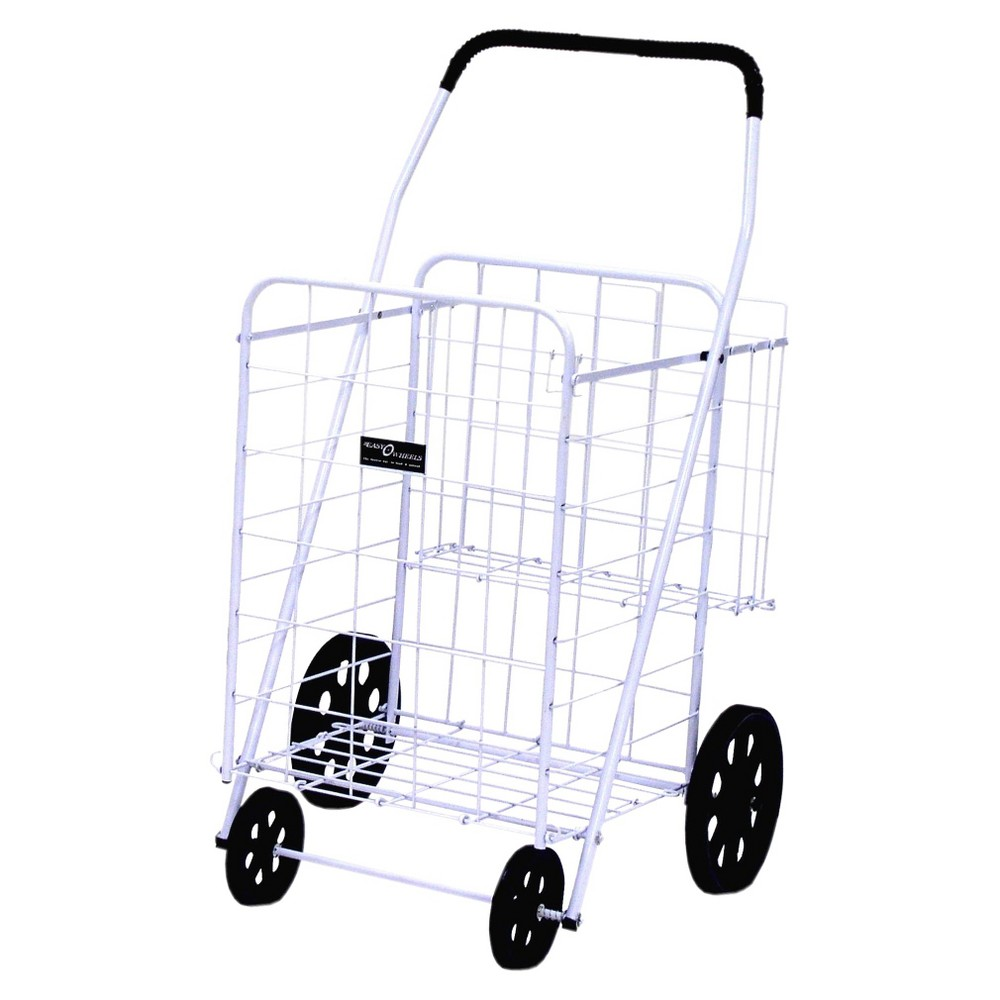 Narita Jumbo Shopping Cart Plus, White This high-quality four-wheel Easy Wheels Jumbo Shopping Cart Plus is good for shopping, laundry and a variety of other purposes. This folding shopping cart is coated with a highly durable epoxy finish. This white jumbo cart also has an extra basket in the rear. The Easy Wheels Jumbo Shopping Cart Plus folds flat for easy storage in a small space. When you've got a lot of shopping to do, this Easy Wheels Folding Shopping Cart can easily carry the load. Easy Wheels Jumbo Shopping Cart Plus, 1ct: Made of heavy gauge steel for durability Hardened plastic wheels Folds flat for easy storage