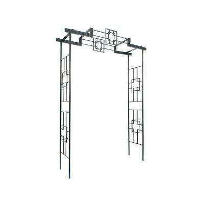 """95.5"""" Tall Handcrafted Iron Square on Square Garden Arbor II Graphite Powder Coated Finish - Achla Designs"""