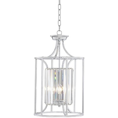 """Possini Euro Design Chrome Cage Pendant Chandelier 13 3/4"""" Wide Modern Crystal 3-Light Fixture for Dining Room House Foyer Kitchen"""